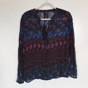 Lucky Brand Sheer Patterned Blouse | Size M